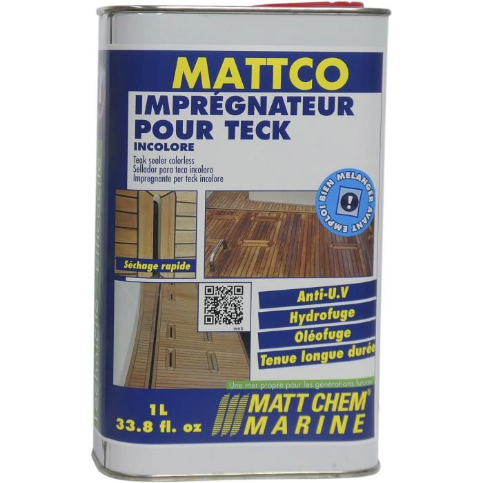 MATT CHEM MARINE Impregnateur pour Teck incolore Mattco Incolore - Formulation en phase aqueuse