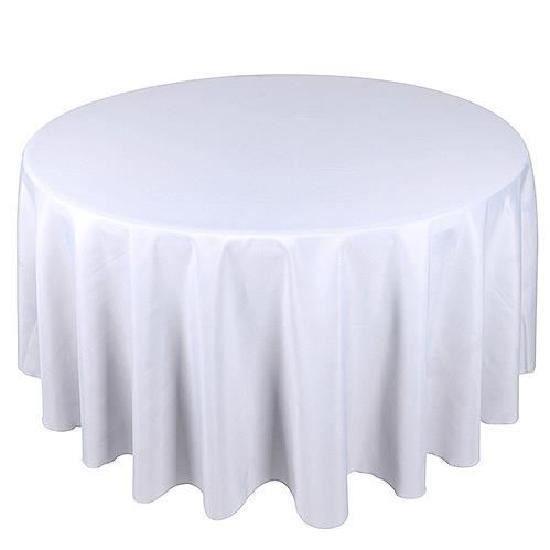 lot de 10 blanc tissu de table ronde 225cm mariage polyester nappe