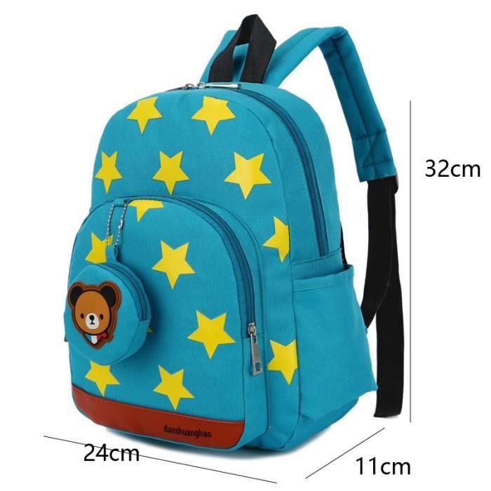 Sac à dos enfant motifs étoiles scolaire pour la rentrée L24*L11*H32cm Vert