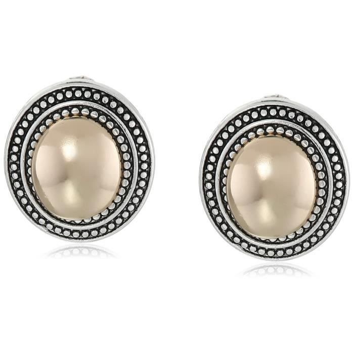Napier Classics Two-tone Oval Button Clip-on Earrings RFCW1