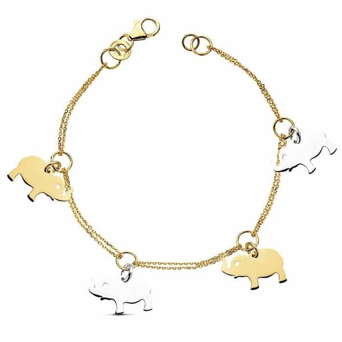 Bracelet 18k bicolor or 19cm éléphants. 6gr. [AB3387]