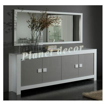 Salle A Manger Model Pissa Blanc Gris Bahut 4 Portes Miroir 180 Cm