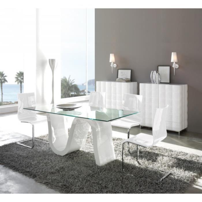 Table PAVO en verre et bois blanc laqué longueur 180cm - L 180 x l ...