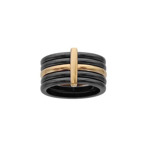 Bague plaqué or 4 anneaux céramiques noire et 1 li
