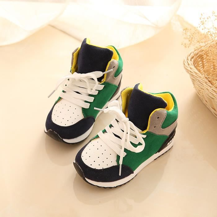 BOTTE Sport Chaussures de course Garçons Enfant Printemps Filles Enfants Chaussures Pédales Sneakers@Vert ym5a0