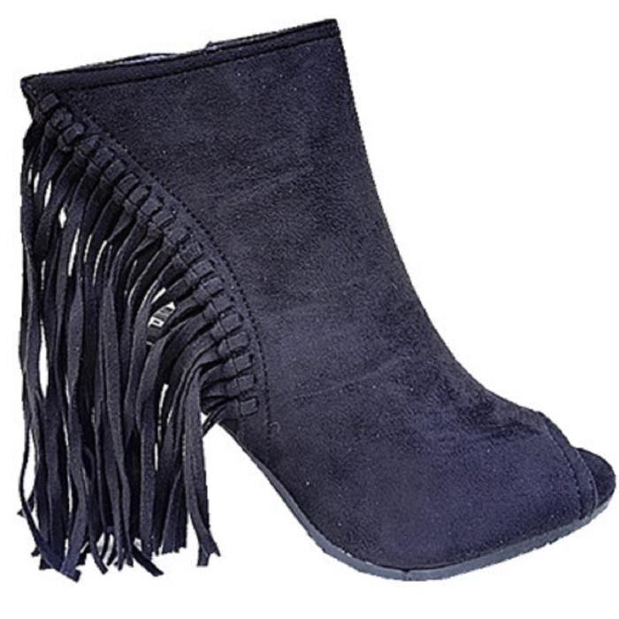 2657fb3c790e Fashionfolie888 - Sandales a talon haut bloc femme chaussure bout ouverte  compensée franges C170 NOIR YO38897Hj4