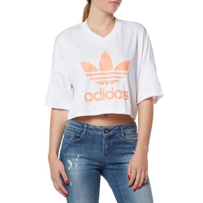 quality design 0e3e9 595af Adidas - Adidas Originals Trefoil Femme T-Shirt Weiss