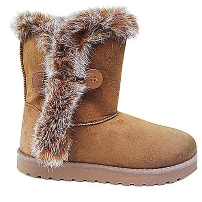 b9b4e1f47c Fashionfolie888 - Boots Hiver Femme fourrure véritable Bottes Neige Courtes  Plates Doublure 6130 CAMEL