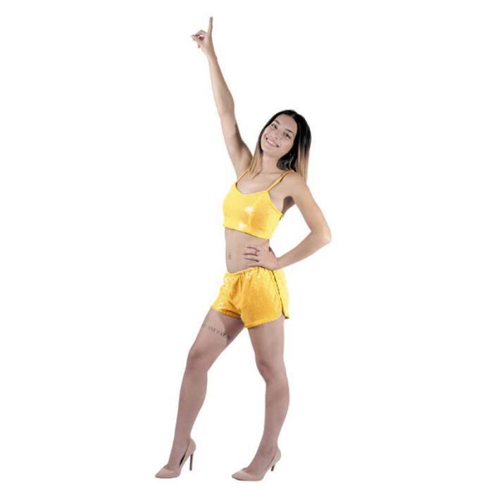 99d3946597 ACCESSOIRE DÉGUISEMENT Mini Short à Sequins Or Femme - Taille Unique