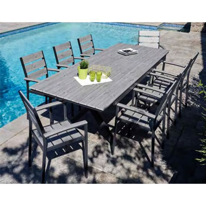 Table extensible en aluminium anthracite- imitation bois gris clair - Dim :  200-260 x 100 x 75cm