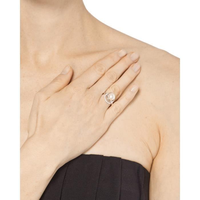 Mes-bijoux.fr - Bague Femme Voie Perlée en Argent 925-1000 - 8B7127gv
