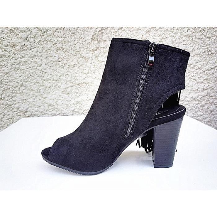 75e46a52cd13 Fashionfolie888 - Sandales a talon haut bloc femme chaussure bout ouverte  compensée franges C170 NOIR YO38897Hj4 ...