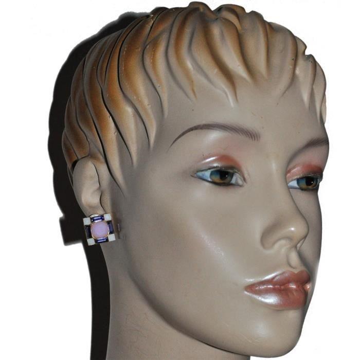 Bijou signé UNE LIGNE boucles doreilles couleur or cristal rose violet