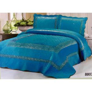 couvre lit boutis strass 3 pi ces 2 personnes 230x250 cm turquoise achat vente jet e de lit. Black Bedroom Furniture Sets. Home Design Ideas