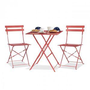 Salon de jardin bistrot pliants métal en 60 x 60 cm rouge 2213014 ...