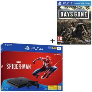 CONSOLE PS4 NOUVEAUTÉ Pack PS4 1 To Noire + 2 Jeux : Marvel's Spider-Man