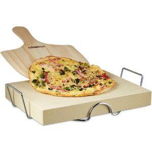 PIERRE À PIZZA Relaxdays Pierre à pizza avec support en métal et