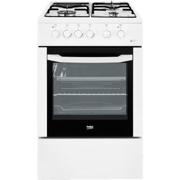 BEKO CSE53120DW - Cuisinière table mixte gaz / électrique - 4 foyers - Four électrique - Catalyse - 72L - A - L60 x H85cm - Blanc