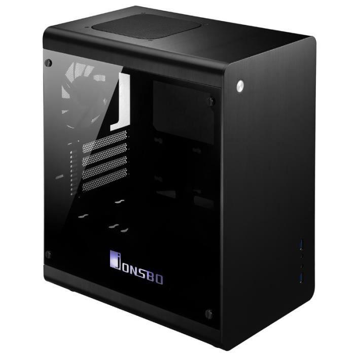 JONSBO Boitier PC RM3 - Mini tour - Format Micro ATX - Fenêtre Verre trempé - Alumium - Noir