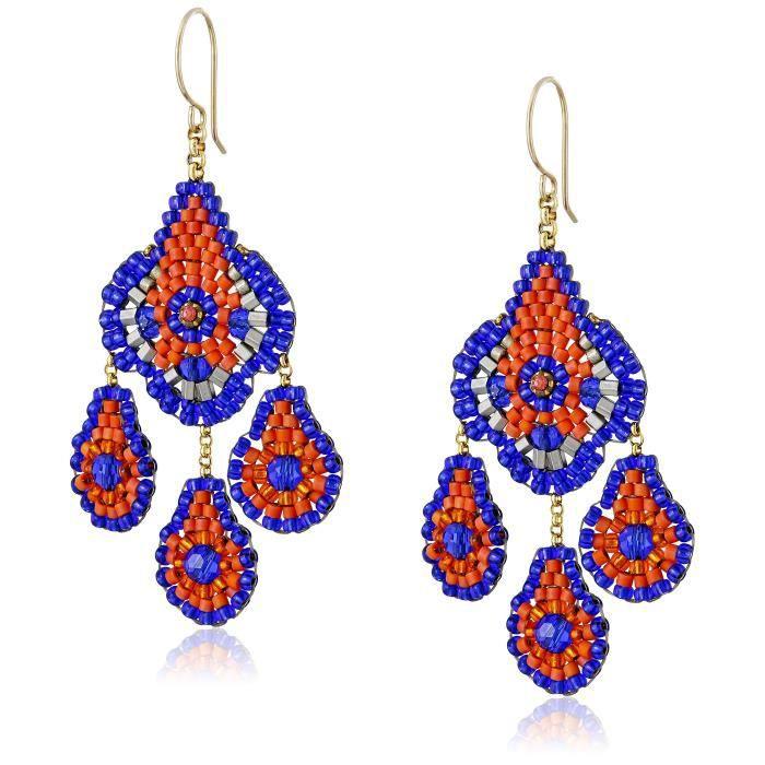 Miguel Ases Les femmes Blue Hydro-quartz et Orange Miyuki Perle Petit Lustre Boucles doreilles O30WV