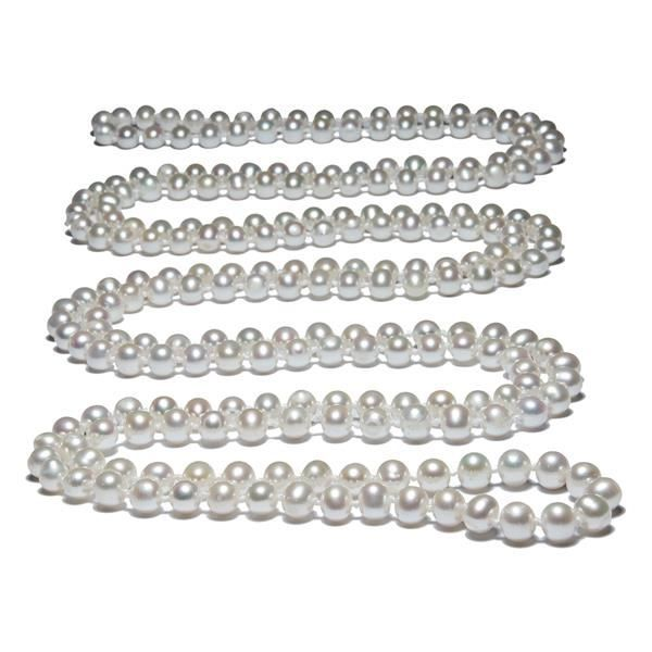 Collier Perles blanches 162 cm F