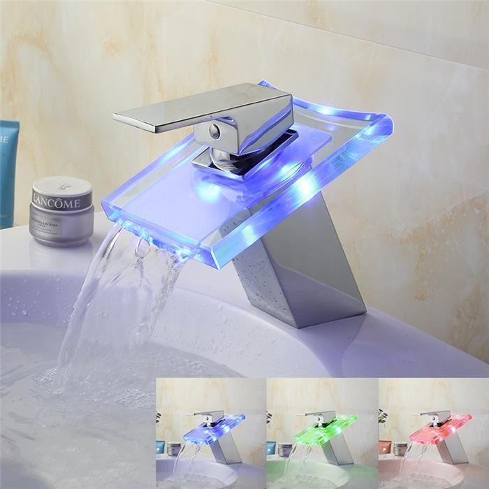 Salle de bain et WC Robinet de Cuisine à LED Robinet de lavabo à Cascade de Bureau à LED