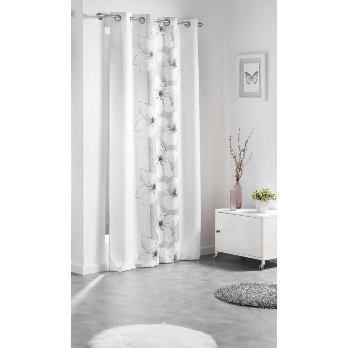 rideaux oeillet blanc et gris achat vente pas cher. Black Bedroom Furniture Sets. Home Design Ideas