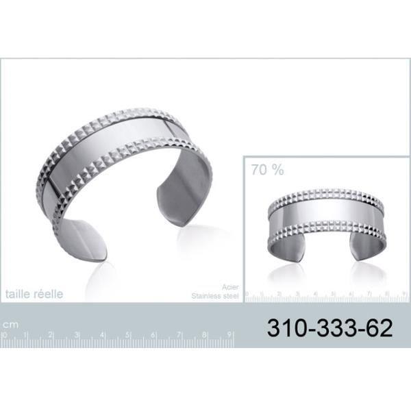 Bracelet rigide jonc en acier avec petits carré