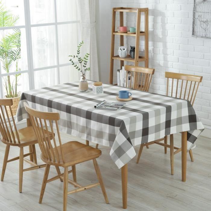 nappe de table rectangulaire imperméable anti-tache en coton pour