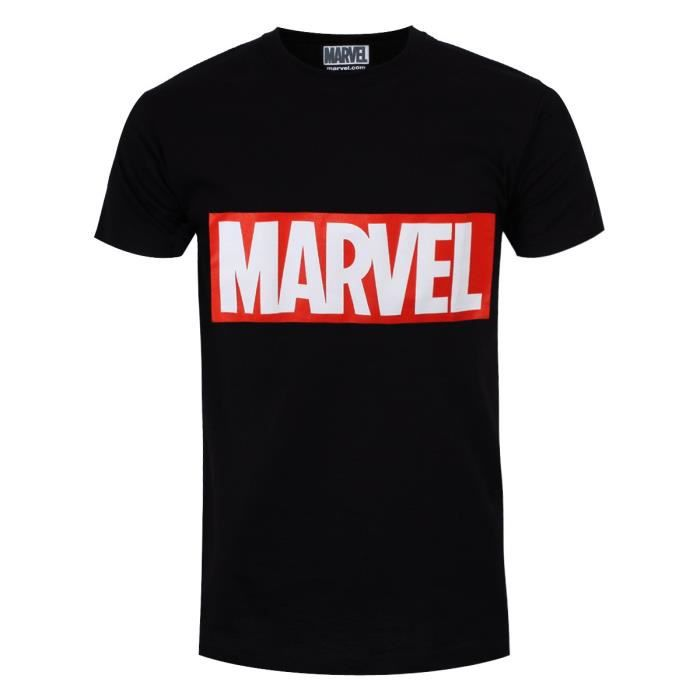 1a67d43c969b0 Marvel T-Shirt Logo Original Homme Noir Sous Licence Officielle Noir ...