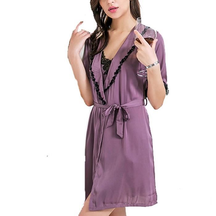 doux et léger conception populaire nouveau style de Violet Nuisette Déshabillé Pyjama Femme Set Kimono Dem-Manche Robe de Nuit  en Soie Dentelle Sexy Bretelle Fente Satin Grande Taille