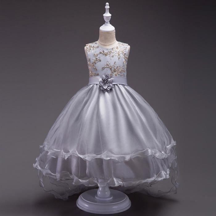 95f4100d7094a Robe de Cérémonie Brodée de Motif Fleuri Robe de Princesse Courte Devant  Longue Derrière Pour Enfants 3-14 ans (Gris)