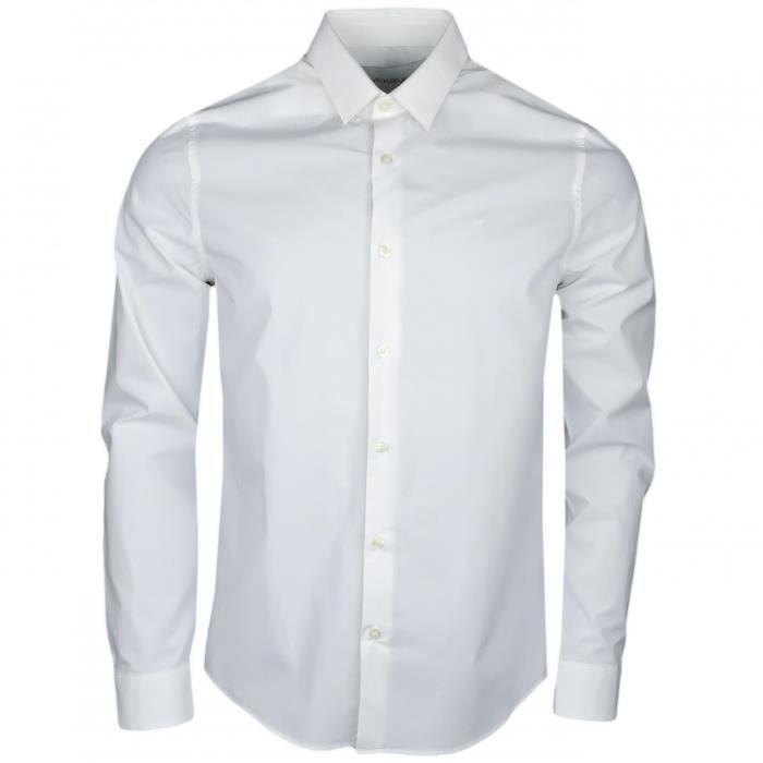 meilleure collection apparence élégante enfant Chemise Calvin Klein blanche slim fit en popeline pour homme - Couleur:  Blanc - Taille: XL