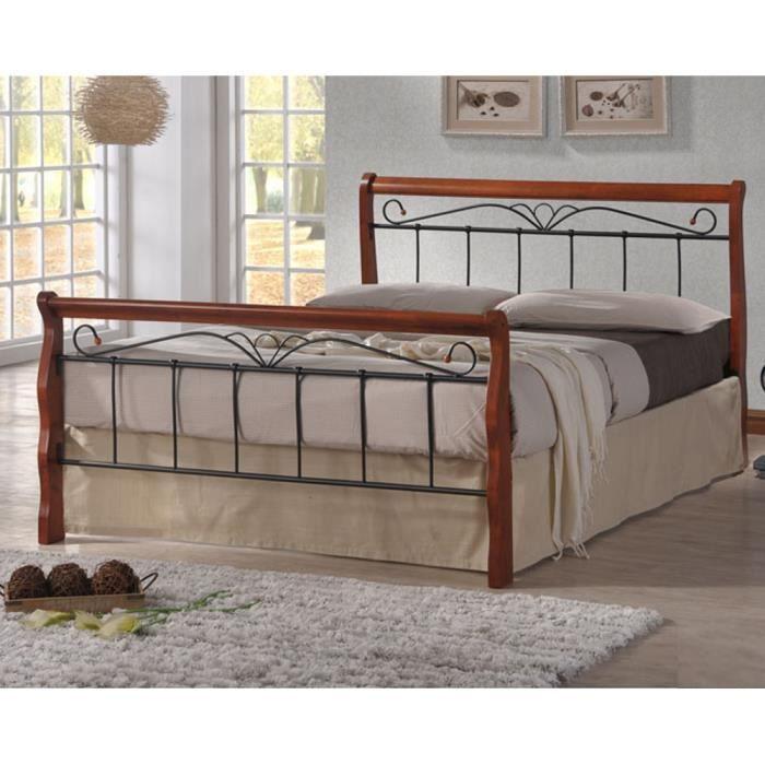 structure de lit bois et metal 140 achat vente pas cher. Black Bedroom Furniture Sets. Home Design Ideas