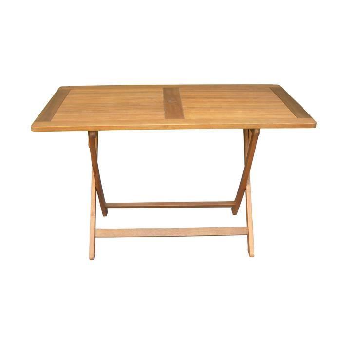 Table de jardin pliante forme rectangulaire en bois exotique - Dim : 120 x  70cm