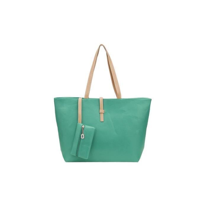 986829d7ee Vert Sac a main grand Sac a bandouliere en faux cuir Fourre-tout avec sac  de portefeuille petit pour femme-439