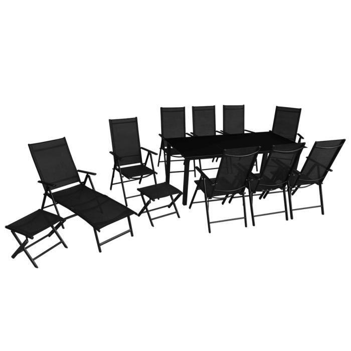VidaXL Jeu de mobilier jardin pliable 12 pièces Aluminium Noir ...