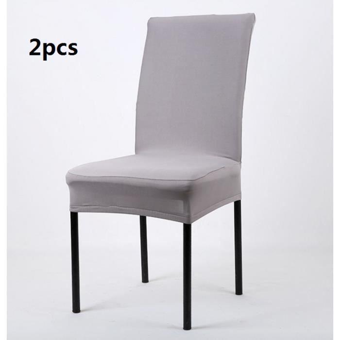 beautiful housse de chaise extensible pas cher #12: 2 pcs gris