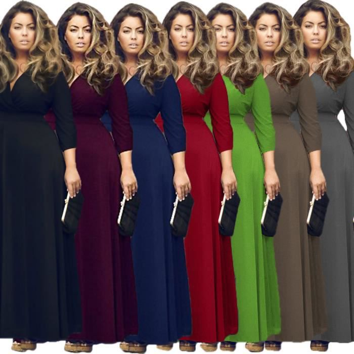 robes lâche des couleur unie col v manches longues