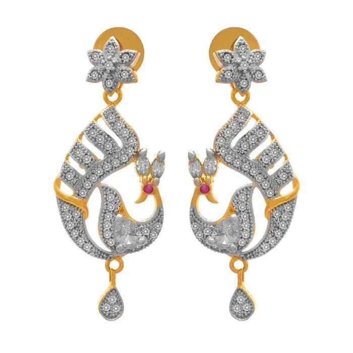 Femmes Jfl - Fusion ethnique un gramme plaqué or américain cubique Zircon Diamant Peacock Designer Nec ZTBFN