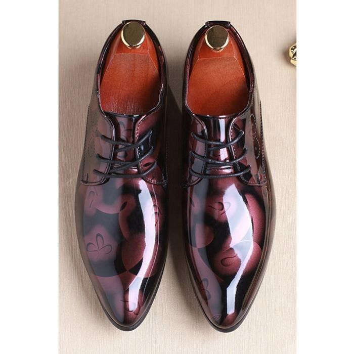 Hommes lumineux Chaussures à bout pointu en cuir Chaussures à lacets en cuir Plus la taille 37-48