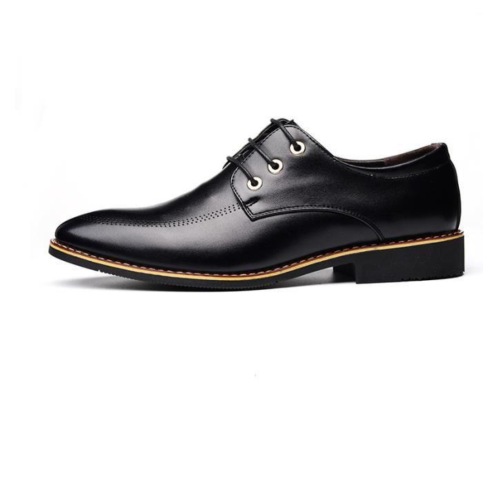 JOZSI Chaussures Hommes Cuir Haut qualité Classique Homme chaussure de ville SHT-XZ202Noir38