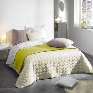 couvre lit boutis blanc achat vente pas cher. Black Bedroom Furniture Sets. Home Design Ideas