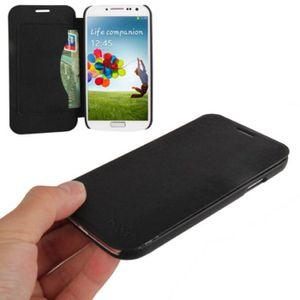 HOUSSE - ÉTUI Etui Galaxy S4 i9500  à rabat noir emplacement cb