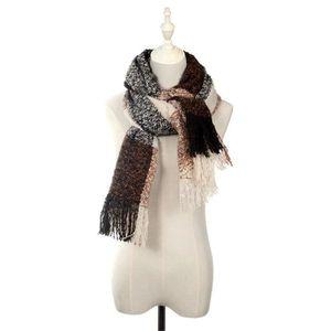 cb57b93efebbf écharpe marron foulard pompon double face cachemire automne hiver femmes