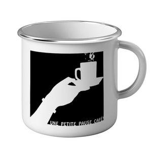 BOL - MUG - MAZAGRAN Mug Métal Tasse Une Petite Pause Café Tasse Noir&B