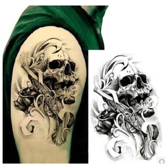 Tatouage Temporaire Ephemere Realiste Motif Tete De Mort Achat