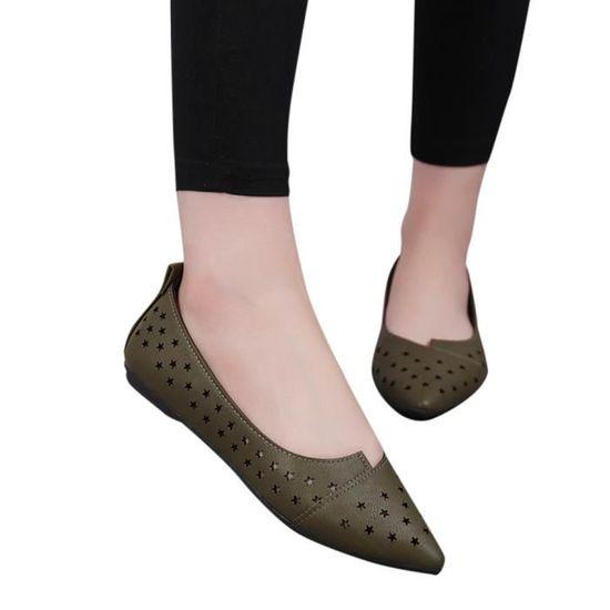 Femmes Femmes Slip On Sandales plates Chaussures Casual solides Chaussures mode Mocassins étoiles  armée verte_XE*7414  Armée verte - Achat / Vente slip-on
