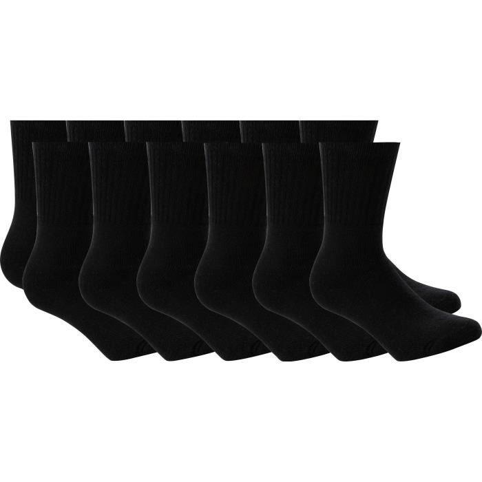 ATHLI-TECH Lot de 12 Paires Chaussettes Tennis - Homme - Noir