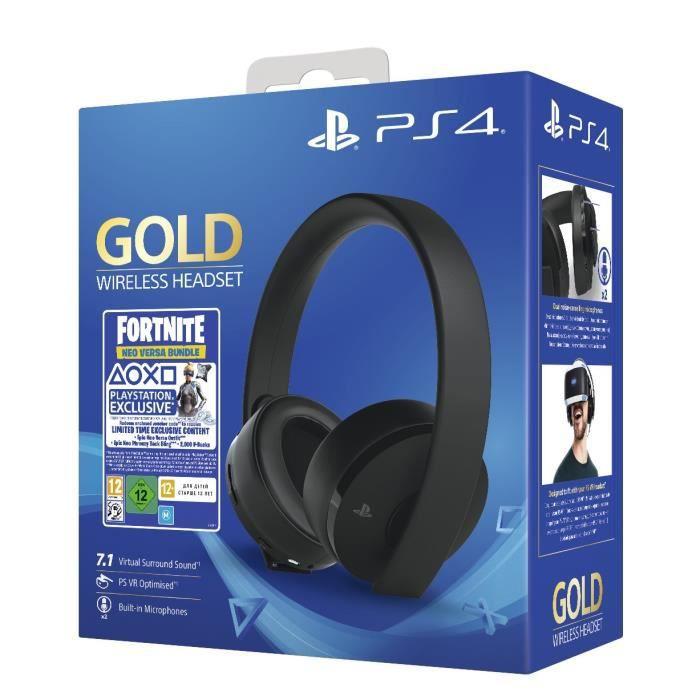 Casque Sans Fil Gold Black - Sony Virtual Surround Sound 7.1 pour PS4 - Optimisé PSVR + Voucher Fortnite - PlayStation Officiel
